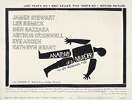 thumbnail link to original 1959 Anatomy of a Murder title lobby card, design by Saul Bass.