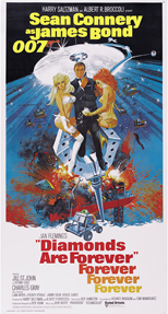 thumbnail link to original 1971 Diamonds Are Forever 3 sheet poster