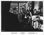 thumbnail link to original 1967 US b&w still The Graduate Mrs Robinson sitting on bar stool