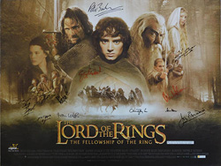 original cast signed British Quad poster Lord of the Rings The Fellowship of the Ring