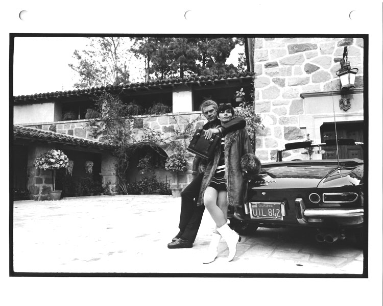 Steve And Neile Mcqueen In Front Of Home And Ferrari 1963