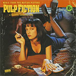 thumbnail link to original 1994 card in-store display poster Pulp Fiction music from the motion picture