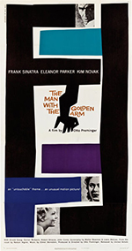 thumbnail link to original 1955 US 3 sheet poster The Man with the Golden Arm