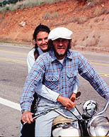 thumbnail link to photograph of Barbara and Steve on his 1941 Indian bike