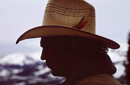 thumbnail link to photograph of Steve in shadow profile at Yellowstone