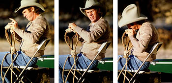 thumbnail link to photograph triptych of Steve tieing a hackamore