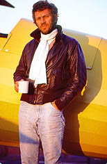 thumbnail link to photograph of Steve by vintage plane Santa Paula airport