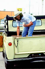 thumbnail link to photograph Steve McQueen, Idaho pick up truck 1977